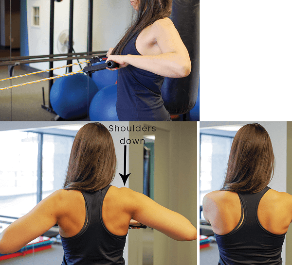 Band row exercise to strengthen the mid-back